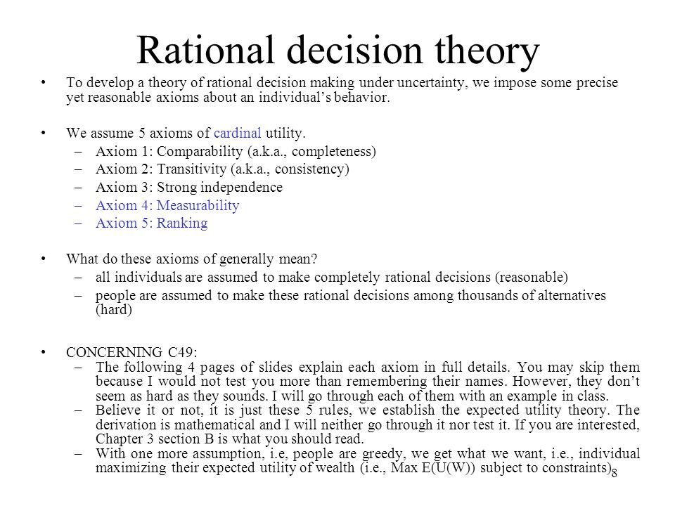Rational decision theory
