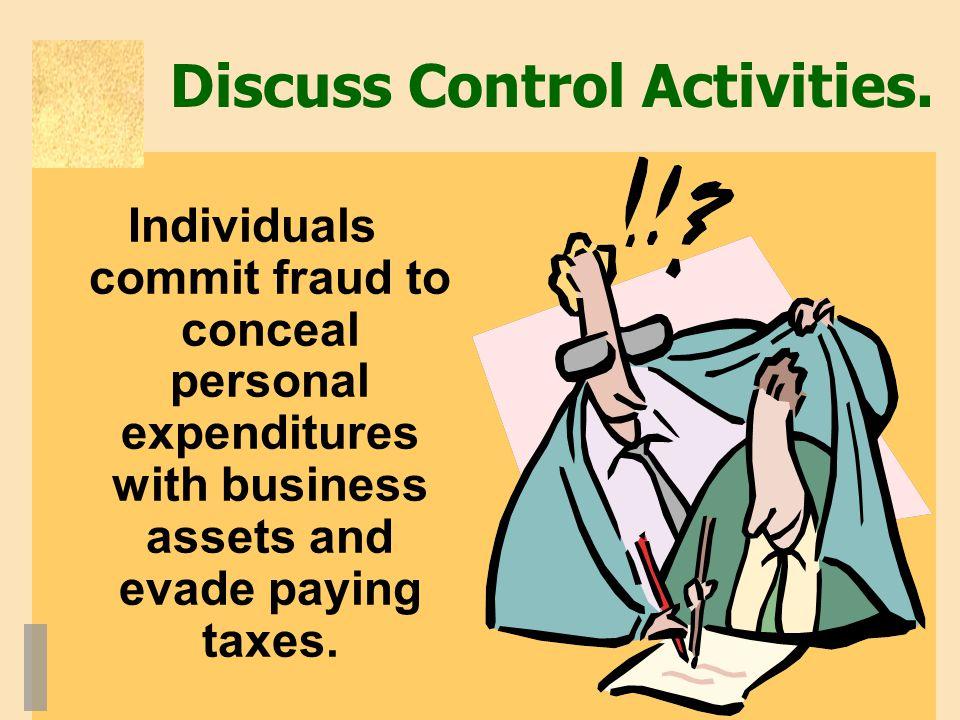 Discuss Control Activities.