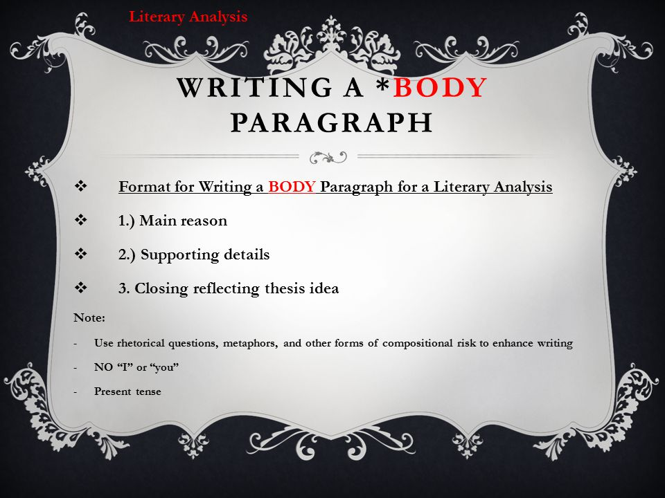 Writing a *BODY Paragraph