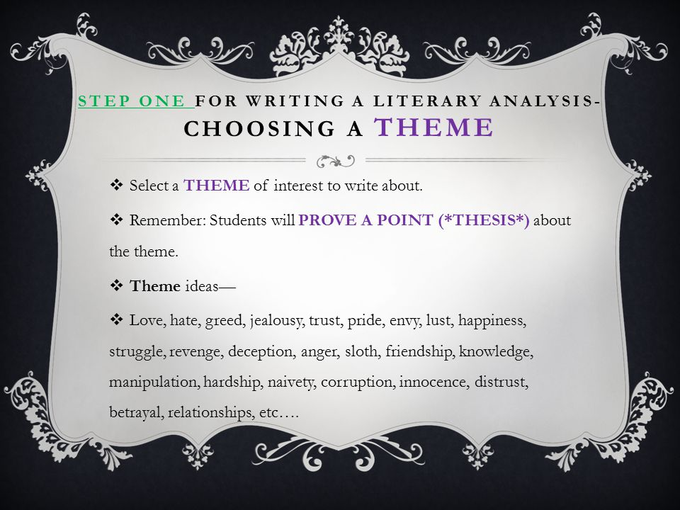 Step One for Writing a Literary Analysis- Choosing a theme