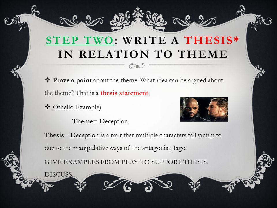Step two: Write a THESIS* in relation to THEME