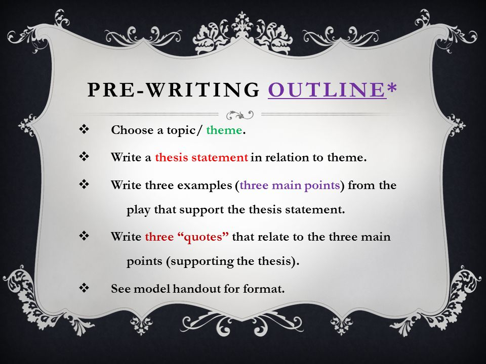 PRE-WRITING OUTLINE* Choose a topic/ theme.
