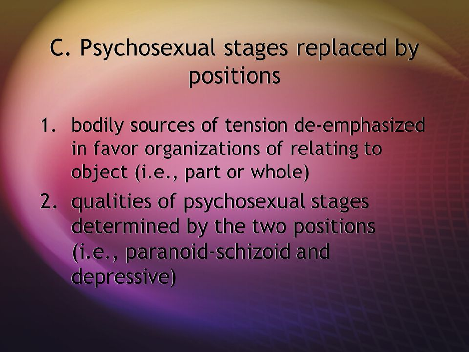 C. Psychosexual stages replaced by positions