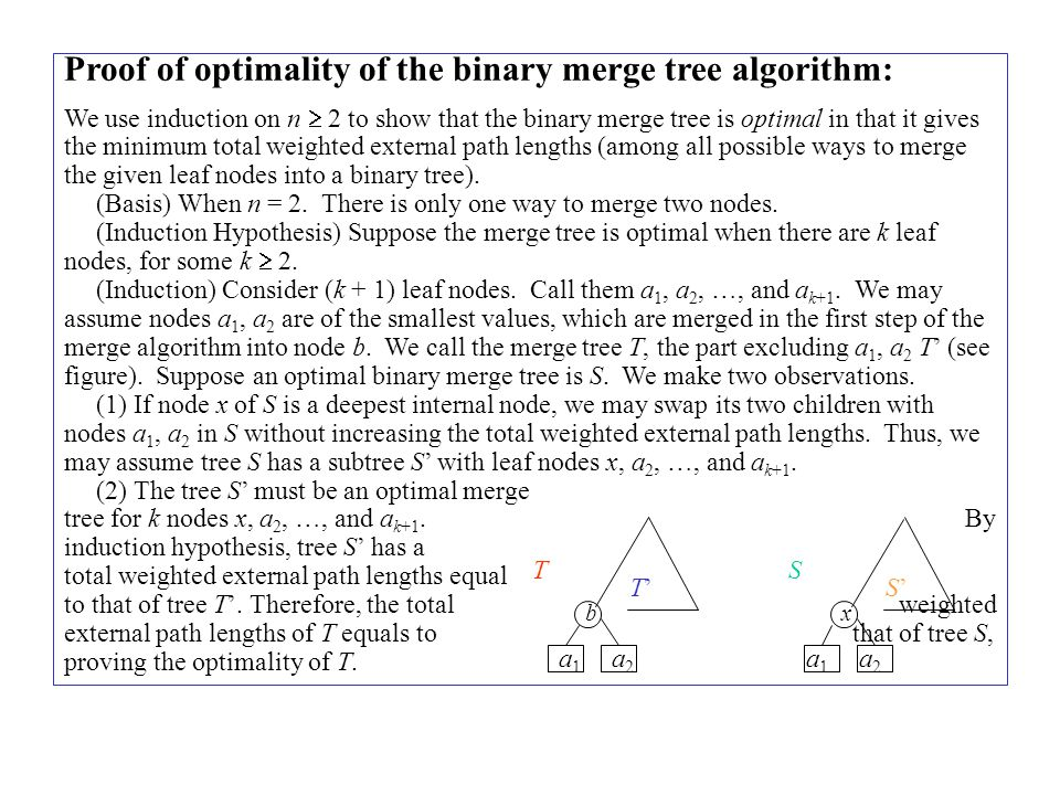 Proof of optimality of the binary merge tree algorithm: