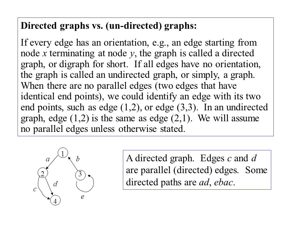 Directed graphs vs. (un-directed) graphs: