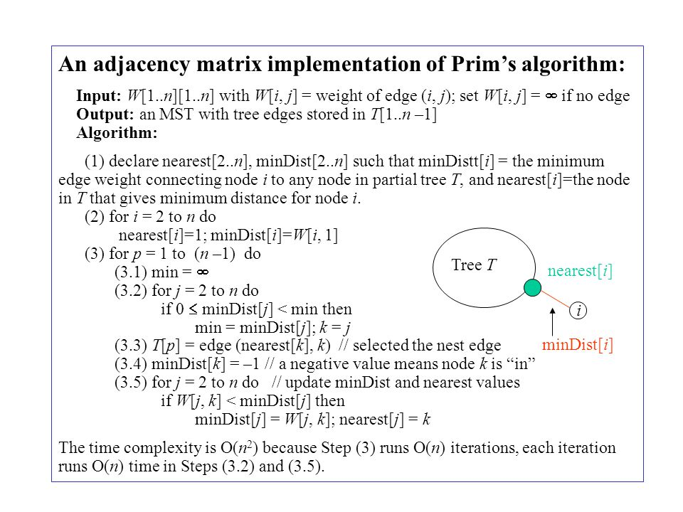An adjacency matrix implementation of Prim's algorithm: