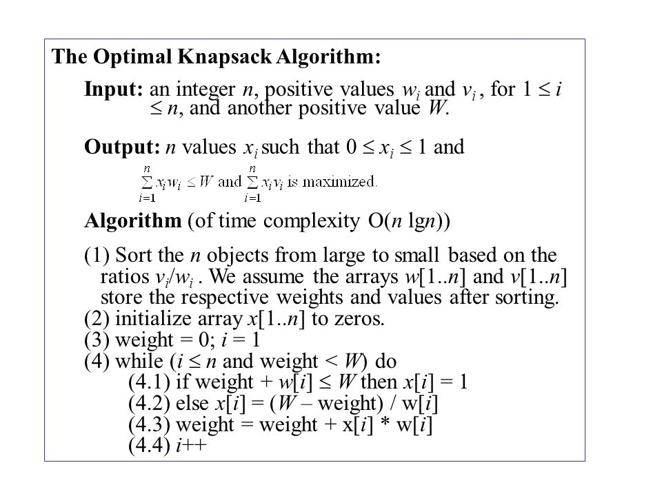 The Optimal Knapsack Algorithm: