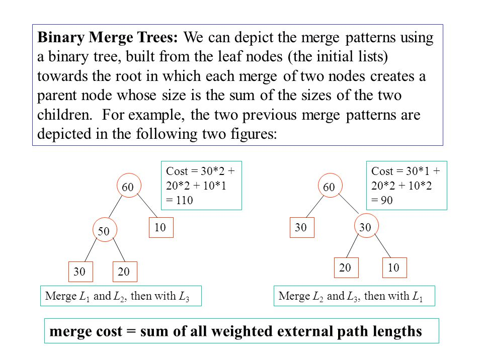 merge cost = sum of all weighted external path lengths