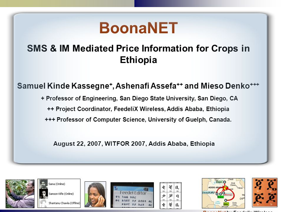 BoonaNET SMS & IM Mediated Price Information for Crops in Ethiopia