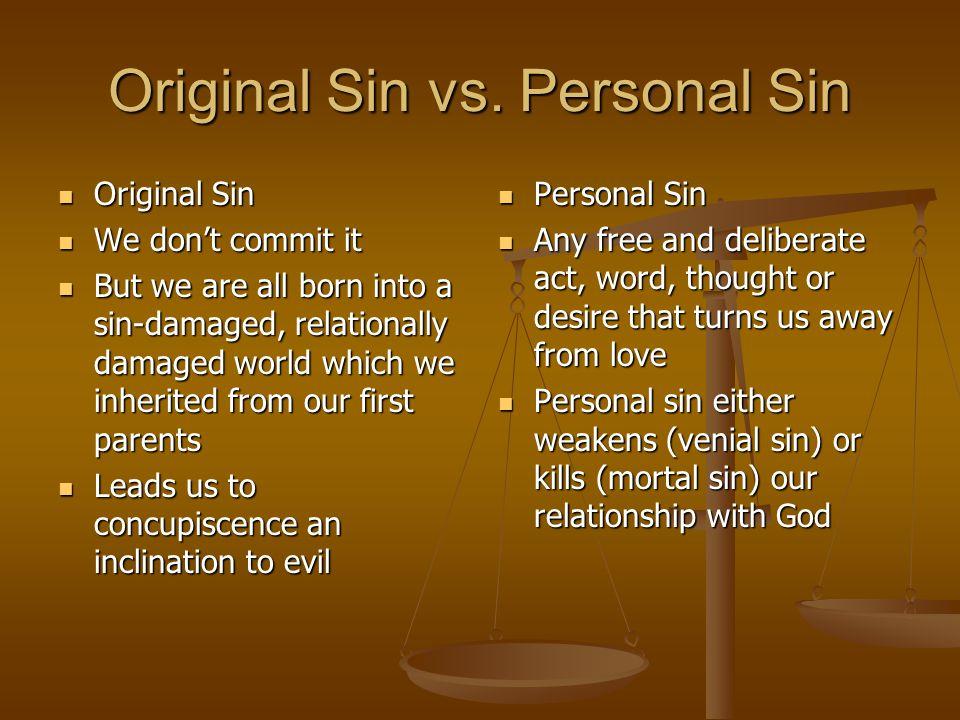 Original Sin vs. Personal Sin