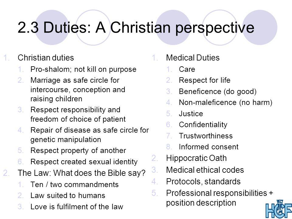 2.3 Duties: A Christian perspective