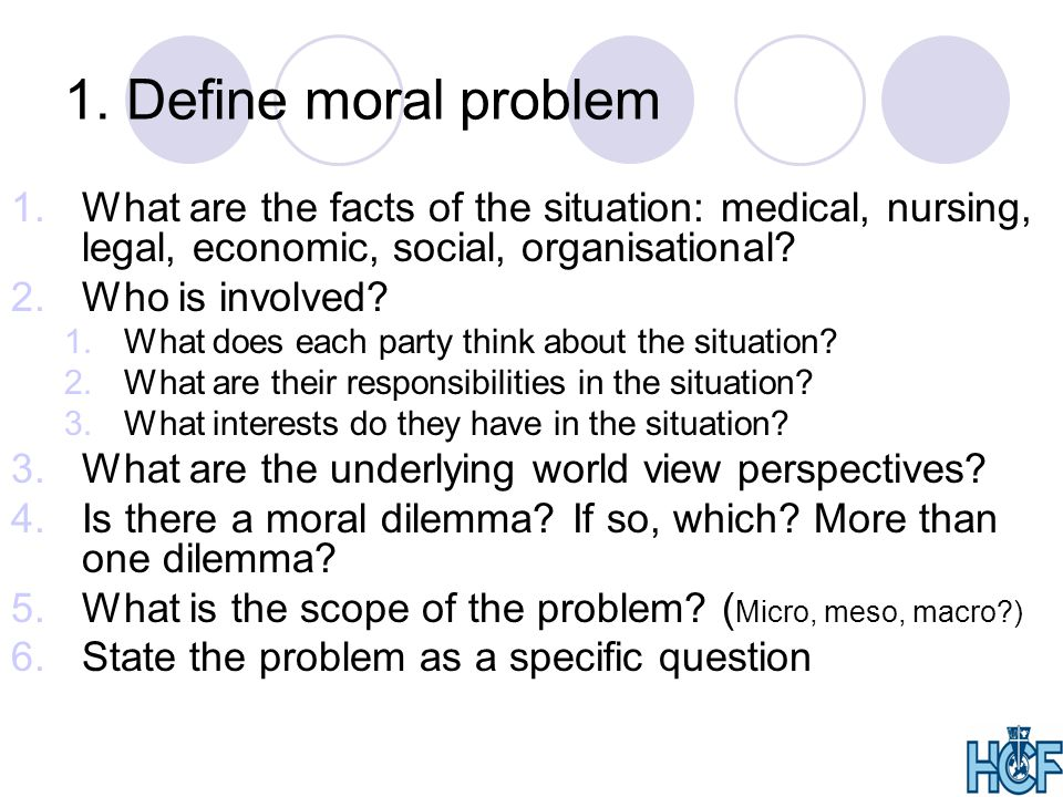 1. Define moral problem What are the facts of the situation: medical, nursing, legal, economic, social, organisational