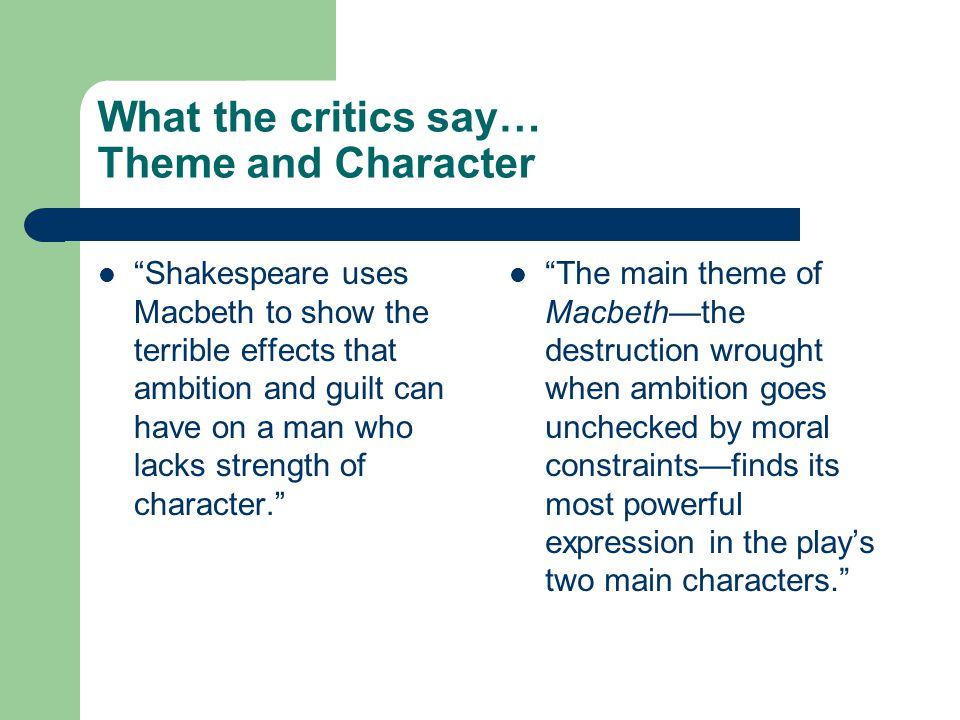 the themes of death ambition and guilt in the play macbeth by william shakespeare The theme of guilt in shakespeare's macbeth next to ambition, guilt is the second most important theme within the play it is essential in our ability to empathise with macbeth and to see him as a tragic hero, rather than a villain.