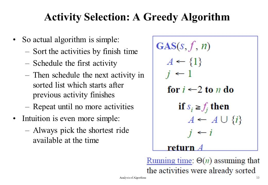 Activity Selection: A Greedy Algorithm