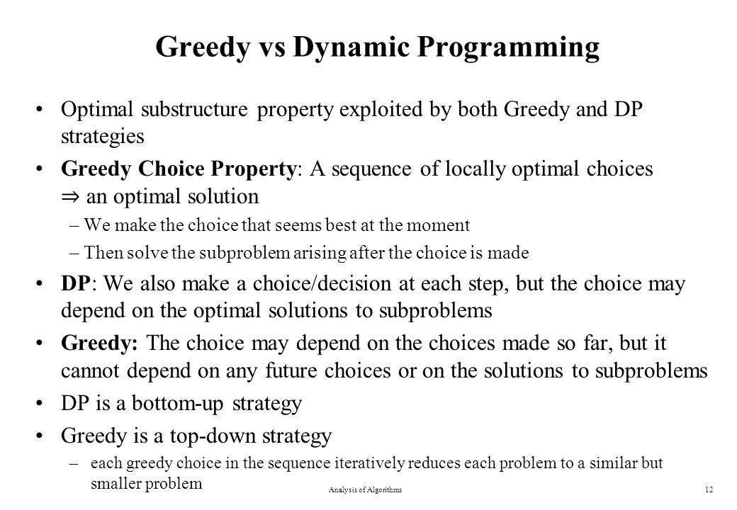 Greedy vs Dynamic Programming