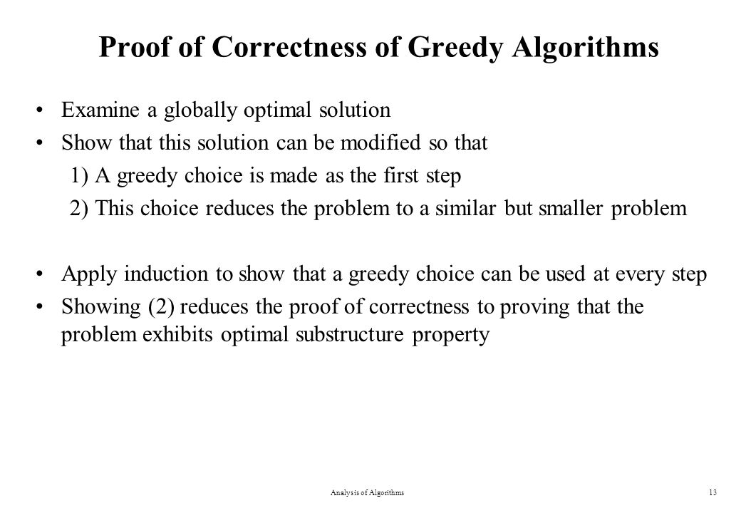 Proof of Correctness of Greedy Algorithms