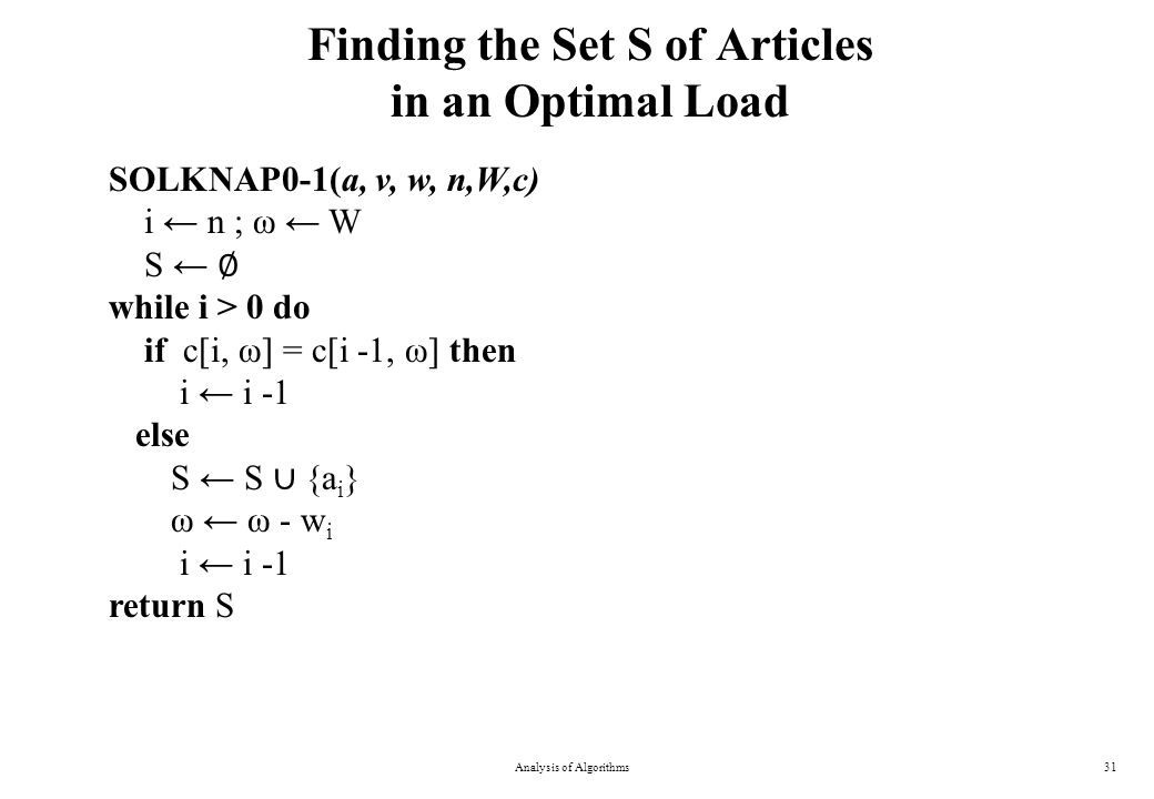 Finding the Set S of Articles in an Optimal Load