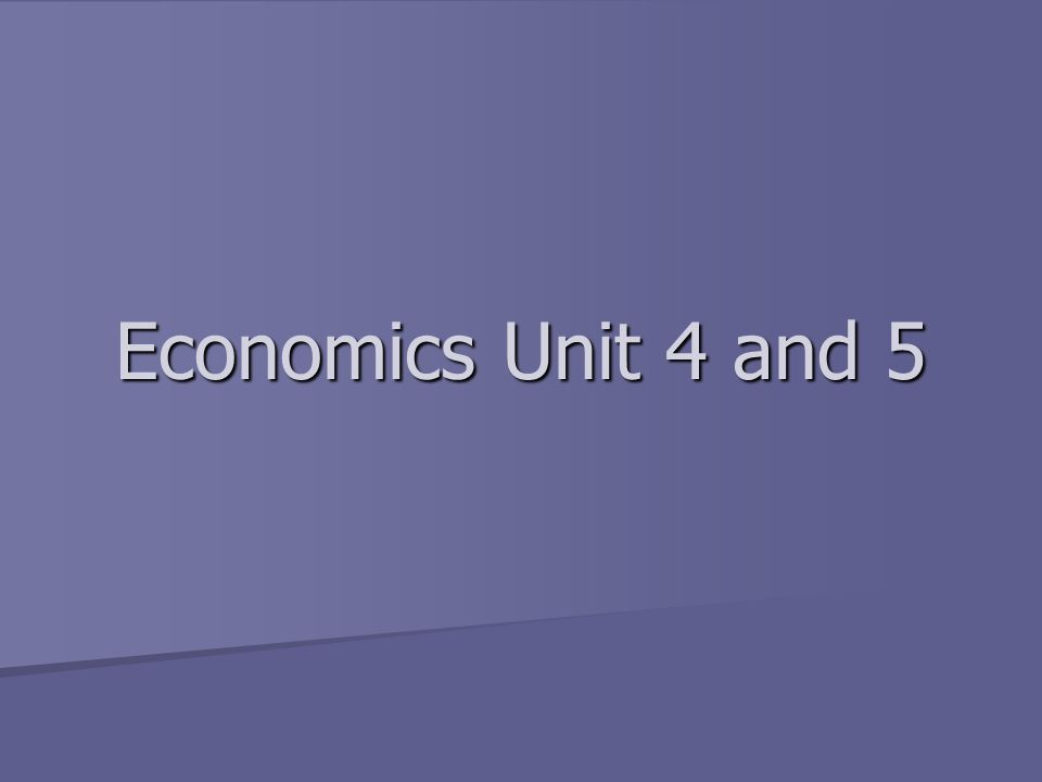 Economics Unit 4 and 5