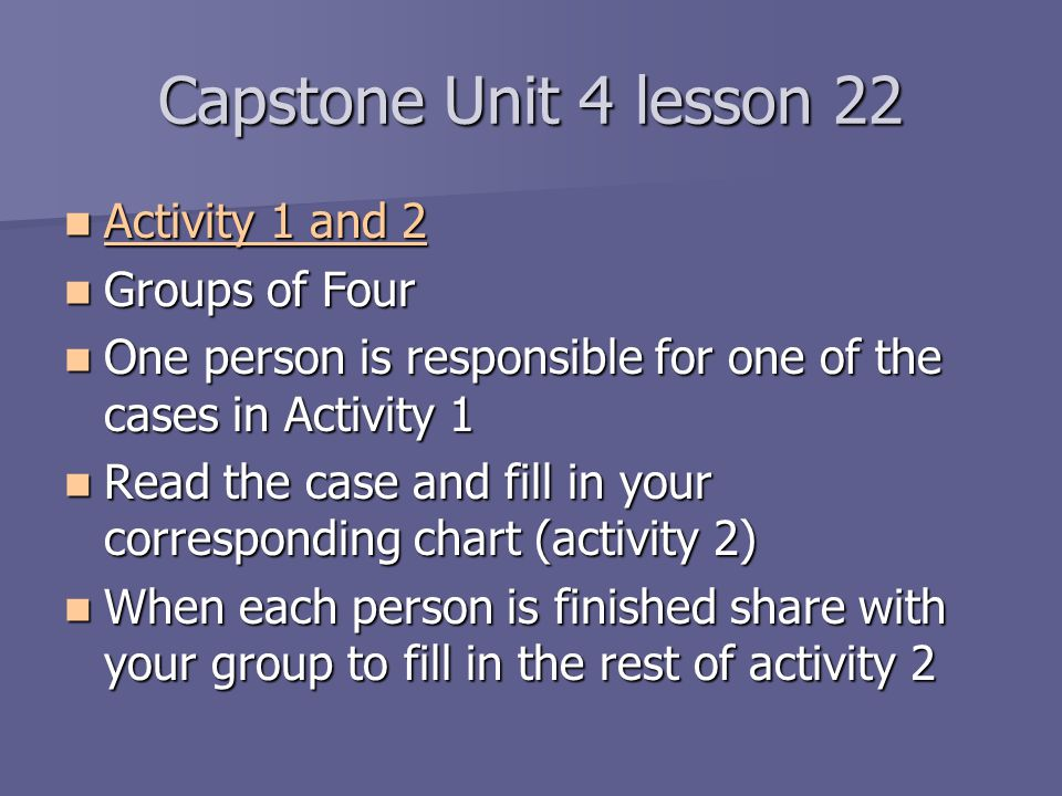 Capstone Unit 4 lesson 22 Activity 1 and 2 Groups of Four