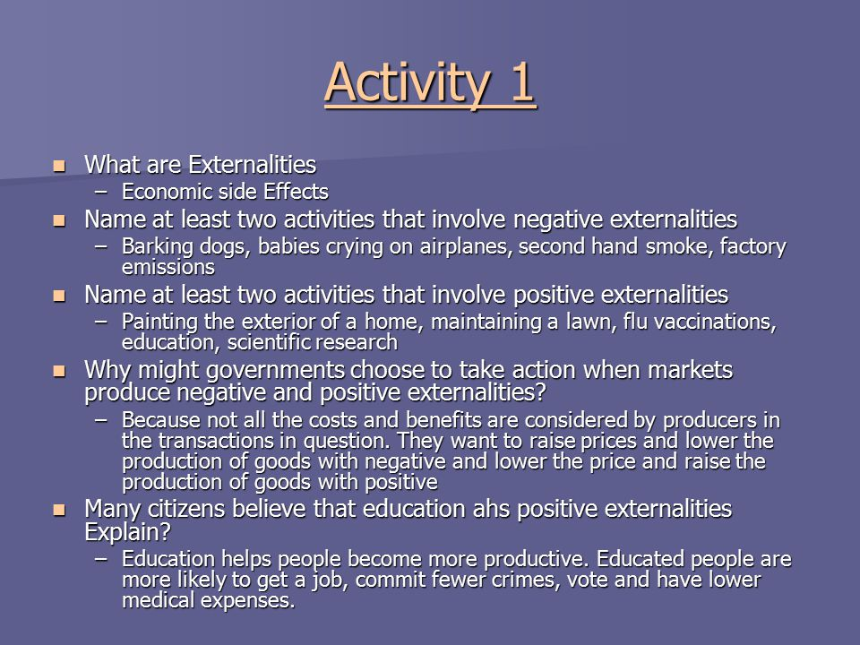 Activity 1 What are Externalities