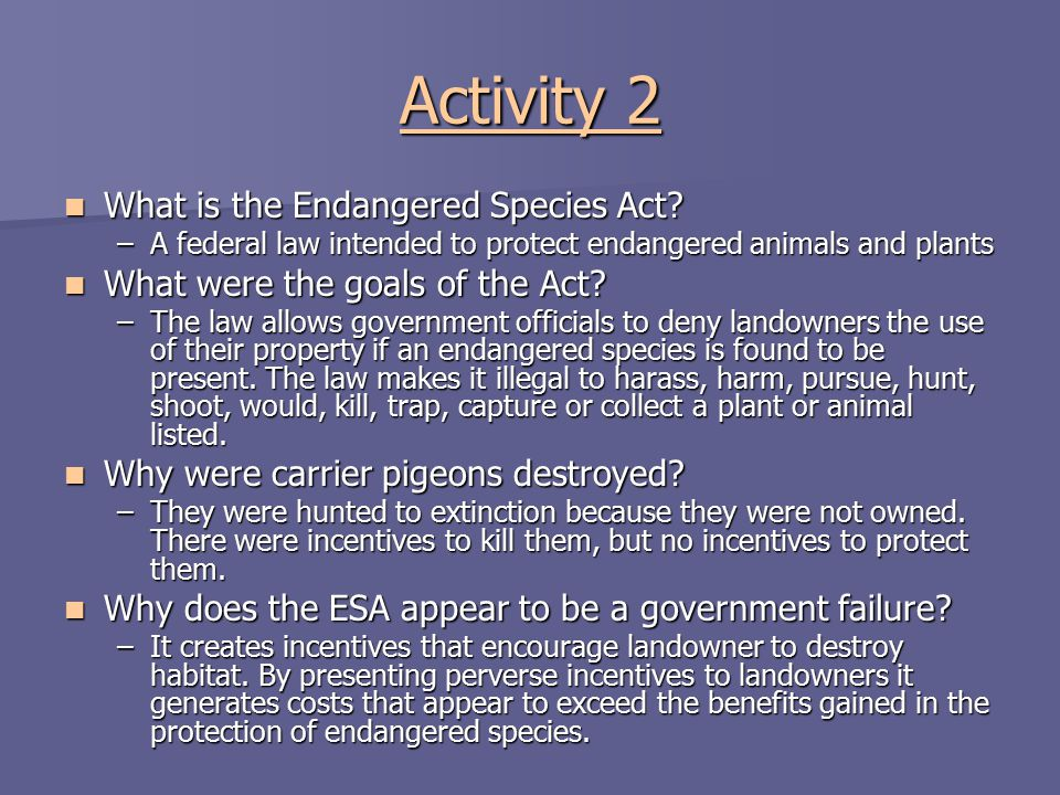 Activity 2 What is the Endangered Species Act