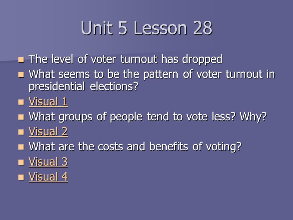 Unit 5 Lesson 28 The level of voter turnout has dropped