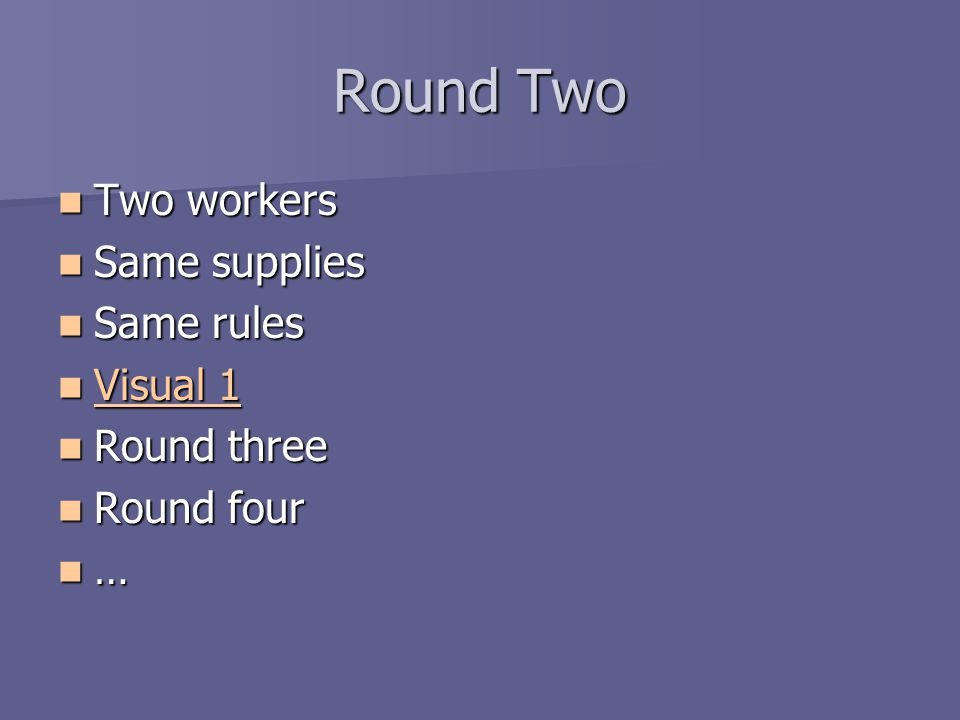 Round Two Two workers Same supplies Same rules Visual 1 Round three