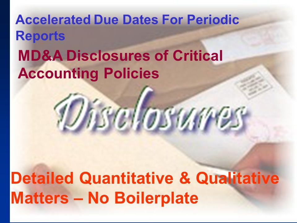 Detailed Quantitative & Qualitative Matters – No Boilerplate