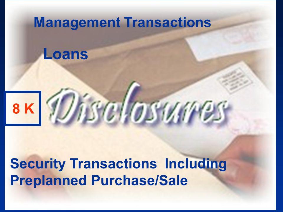 Loans Management Transactions 8 K