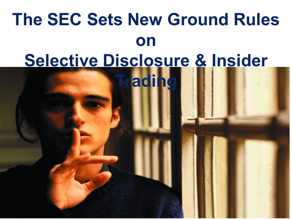 The SEC Sets New Ground Rules on