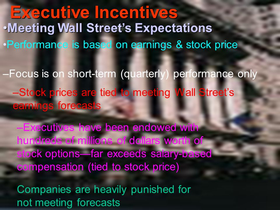 Executive Incentives Meeting Wall Street's Expectations