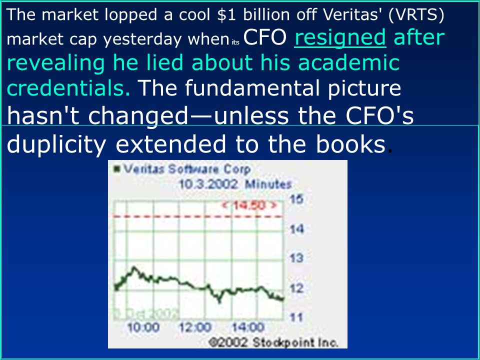 The market lopped a cool $1 billion off Veritas (VRTS) market cap yesterday when its CFO resigned after revealing he lied about his academic credentials. The fundamental picture hasn t changed—unless the CFO s duplicity extended to the books.