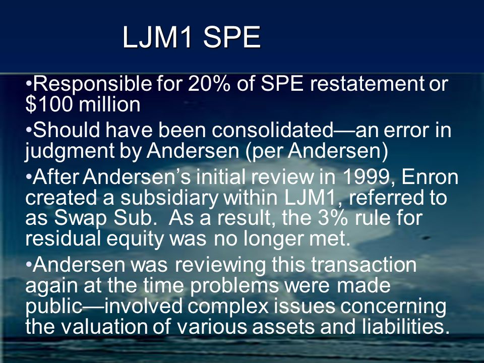 LJM1 SPE Responsible for 20% of SPE restatement or $100 million