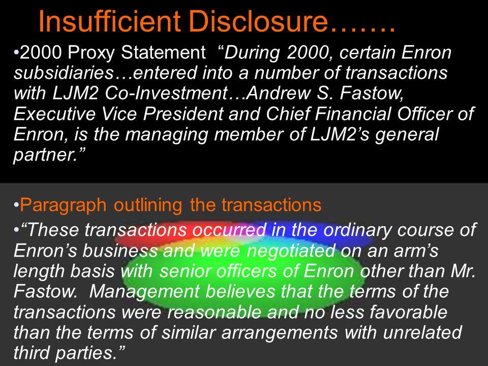 Insufficient Disclosure…….