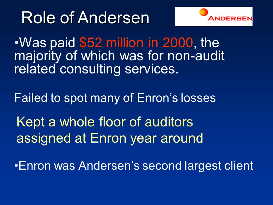 Role of Andersen Was paid $52 million in 2000, the majority of which was for non-audit related consulting services.