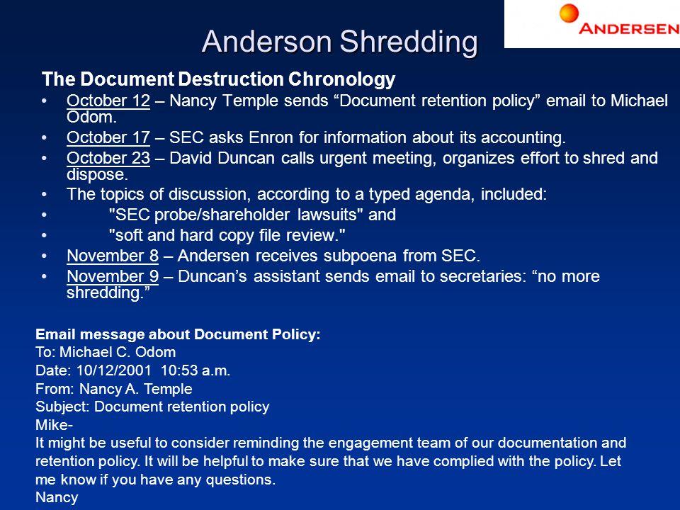Anderson Shredding The Document Destruction Chronology