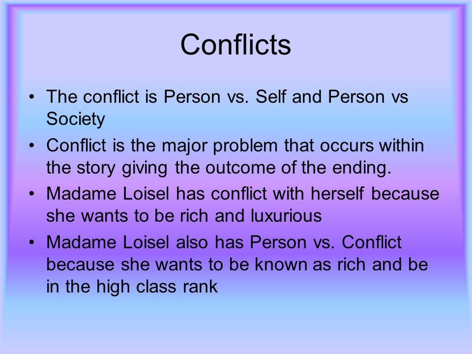 Conflicts The conflict is Person vs. Self and Person vs Society