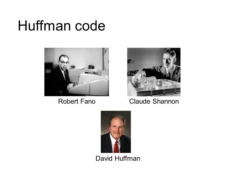Huffman code Robert Fano Claude Shannon David Huffman