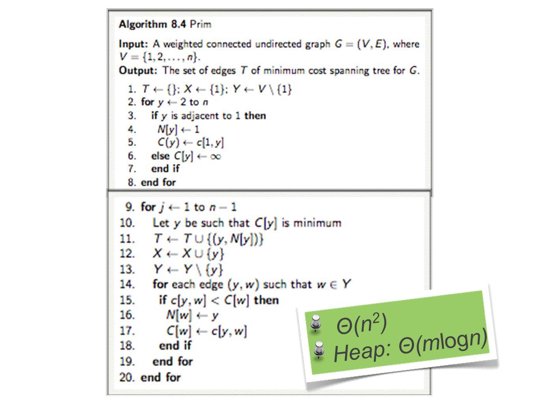 Θ(n2) Heap: Θ(mlogn)