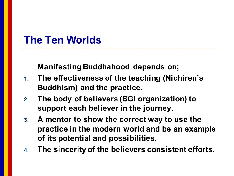 The Ten Worlds Manifesting Buddhahood depends on;
