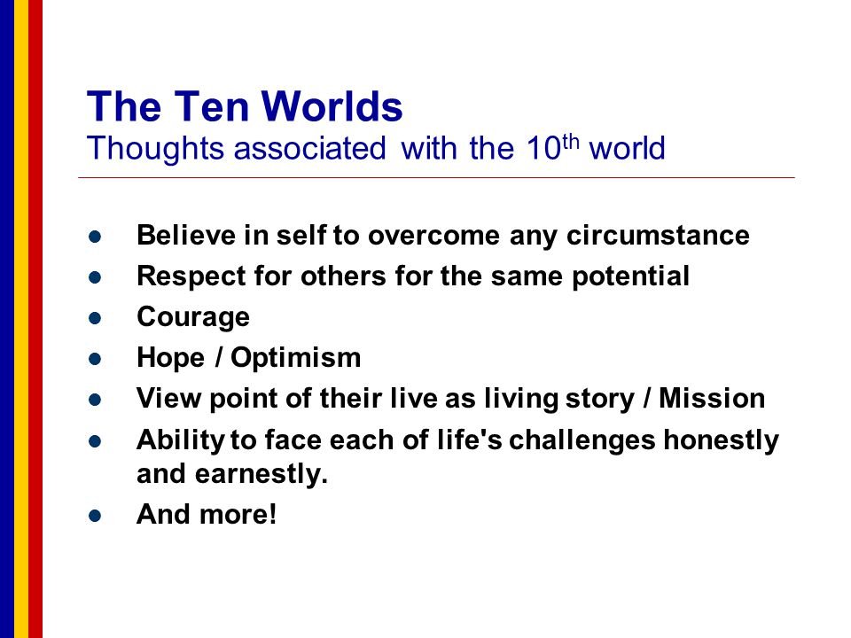 The Ten Worlds Thoughts associated with the 10th world