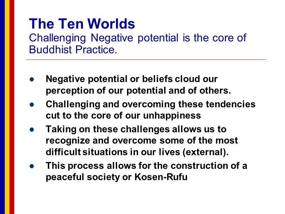 The Ten Worlds Challenging Negative potential is the core of Buddhist Practice.