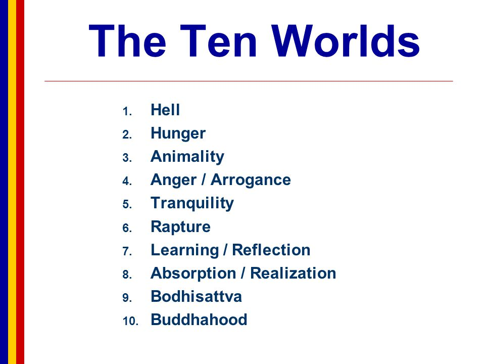 The Ten Worlds Hell Hunger Animality Anger / Arrogance Tranquility