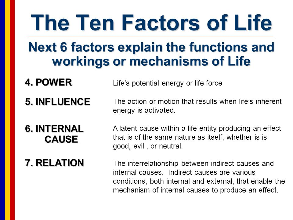 The Ten Factors of Life Next 6 factors explain the functions and workings or mechanisms of Life. 4. POWER.