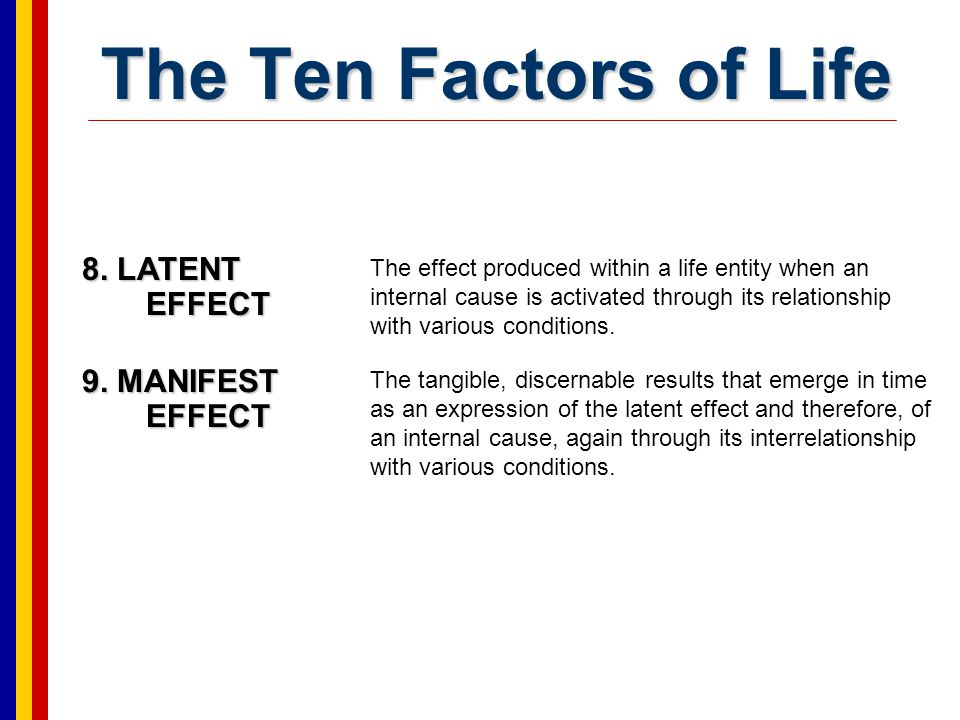The Ten Factors of Life 8. LATENT EFFECT 9. MANIFEST EFFECT