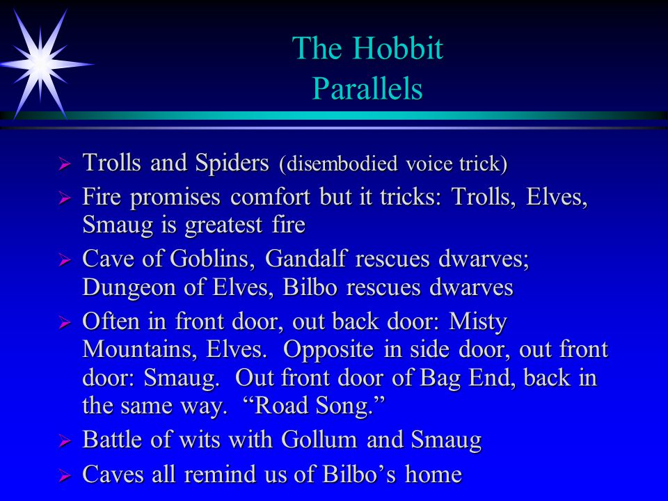 The Hobbit Parallels Trolls and Spiders (disembodied voice trick)