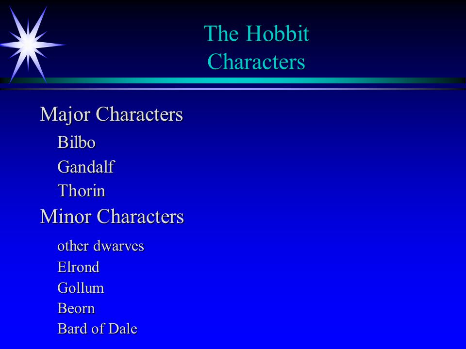 The Hobbit Characters Major Characters Bilbo Minor Characters