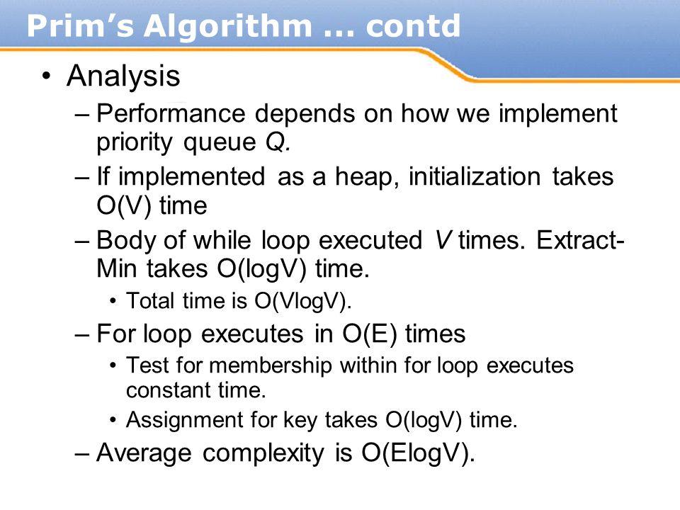 Prim's Algorithm ... contd