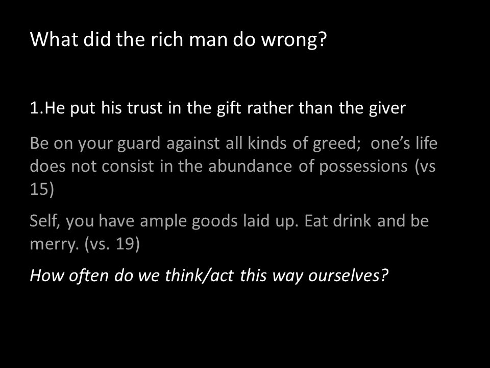 What did the rich man do wrong