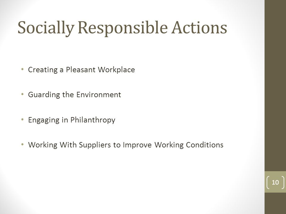 Socially Responsible Actions